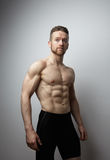 Handsome young man with perfect muscule body posing. Stock Photos