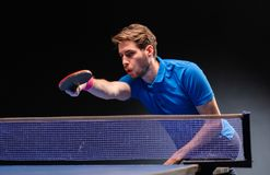 Handsome Young Man Playing Ping Pong Table Tennis Royalty Free Stock Photography