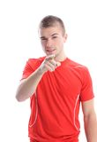 Handsome young man pointing finger at you Royalty Free Stock Photography
