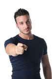 Handsome young man pointing finger at you Royalty Free Stock Photos