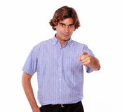 Handsome young man pointing to people Royalty Free Stock Images