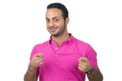 Handsome young man portrait pointing at you Royalty Free Stock Photo