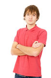 The handsome young man posing in front of the camera Stock Image