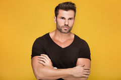 Handsome young man posing in studio. Royalty Free Stock Image