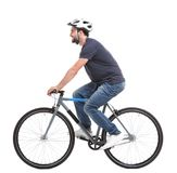 Handsome young man riding bicycle. On white background Royalty Free Stock Images