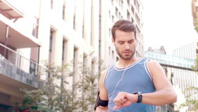 Handsome young man running stock footage