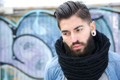 Handsome young man with scarf Royalty Free Stock Image