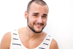Handsome young man with short hair and beard Stock Photo