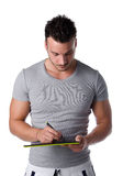 Handsome young man sketching on digital graphic tablet Royalty Free Stock Photos