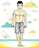 Handsome young man standing on tropical beach in bright shorts. Vector athletic male illustration. Summer vacation lifestyle theme cartoon Stock Images