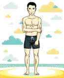 Handsome young man standing on tropical beach in bright shorts. Vector athletic male illustration. Summer vacation lifestyle theme cartoon Stock Photos