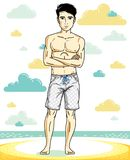 Handsome young man standing on tropical beach in bright shorts. Vector athletic male illustration. Summer vacation lifestyle theme cartoon Stock Image
