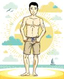Handsome young man standing on tropical beach in bright shorts. Vector athletic male illustration. Summer vacation lifestyle theme cartoon Stock Photo