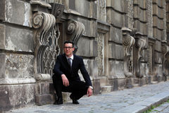 Handsome young man in suit and tie. Young man on the streets of Vienna, Austria Royalty Free Stock Images