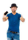 Handsome young man talking on the phone Royalty Free Stock Photos