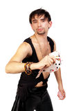 Handsome young man throwing playing cards Royalty Free Stock Images