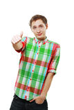Handsome young man with thumb up Royalty Free Stock Images