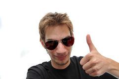 Handsome young man with a Thumbs up Royalty Free Stock Photography