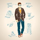 Handsome young man. Vector illustration. Stock Photos