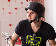 Handsome Young Man Wearing Black Bike Helmet Royalty Free Stock Image