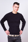 Handsome young man wearing black dress Royalty Free Stock Photo