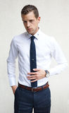 Handsome Young Man Wearing A White Shirt Blue Tie Stock Images