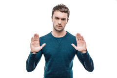 Handsome young man on white background Stock Photos