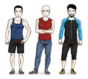 Handsome young men standing wearing stylish sport clothes. Vecto Stock Photos