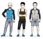 Handsome young men standing wearing stylish sport clothes. Vecto Royalty Free Stock Photo