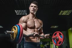 Handsome model young man training arms in gym Stock Photos