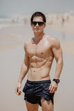 Handsome young muscular male model on the beach enjoying summer Royalty Free Stock Image