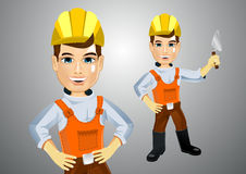 Handsome young plasterer with trowel Stock Images