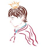 Handsome young prince in the crown and raincoat.  Royalty Free Stock Images