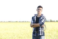 Handsome young singer outdoors Royalty Free Stock Photos