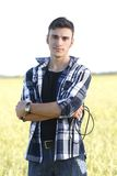 Handsome young singer outdoors Stock Photography