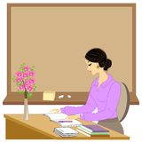 Handsome young teacher. The girl is sitting at the table near the window. A woman writes in a class journal. Vector illustration vector illustration