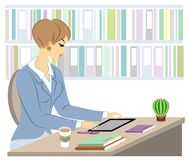 Handsome young teacher. The girl is sitting at the table near the window. A woman writes in a class journal. Vector illustration stock illustration
