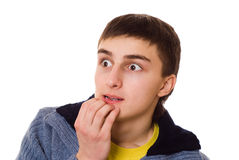 Handsome Young Teenager Standing And Thinking Stock Image