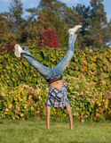 Handspring in park Stock Photo