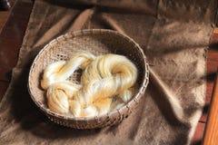 Handspun raw silk yarn, Angkor, Cambodia Royalty Free Stock Images