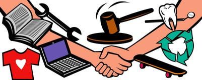 Handsshake auction barter trade Stock Photos