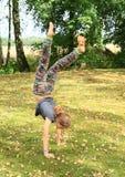 Handstand тренировки девушки Стоковая Фотография