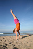 Handstand. On beach Royalty Free Stock Image