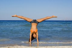 Handstand fun at beach Royalty Free Stock Photography