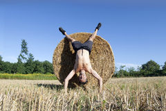 Handstand Hay bale Royalty Free Stock Photo