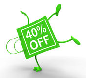Handstand Shopping Bag Forty Percent Off. Shows 40 Reduction Stock Images
