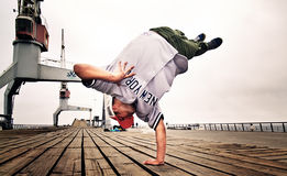Handstanding breakdancer Royalty Free Stock Photo