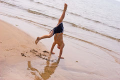 Handstands at the Beach Royalty Free Stock Photo