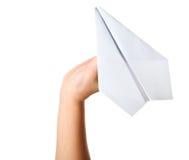 Handstartendes Papierflugzeug Stockbilder