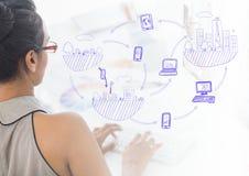 Handstil för affärskvinna på datoren med grafsamkopieringar Arkivfoto